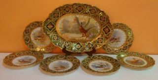 Rare Outstanding Maple Leaf Japanese Nippon 7 Pc Game Pheasant Bird Set