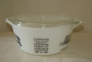 Vintage Pyrex Htf Lincoln Center Promotional Casserole 475