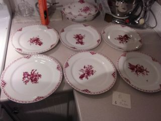 Six Royal Copenhagen Red Plates - 9 1/2 Inches - Denmark