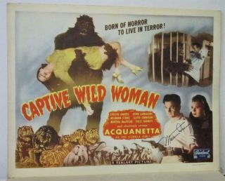 Set Of 8 1948rr Captive Wild Woman Lobby Cards Acquanetta 3 Signed Milburn Stone