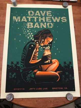 Dave Matthews Band Poster Bristow 7/27/2013 Show Poster Signed & 'd
