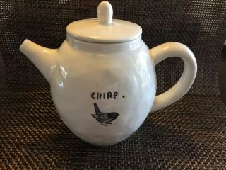 Rare Rae Dunn Vintage Magenta Exclusive Teapot Chirp Pottery Hard To Find