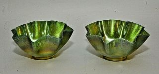Pair Antique Lct Tiffany Favrile Art Glass Iridescent Green Candle Lamp Shades