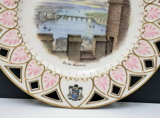 Antique Irish Belleek 2nd Black Mark Scenic Portrait Plate On the Shannon 3