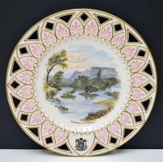 Antique Irish Belleek 2nd Black Mark Scenic Portrait Plate Meeting Of The Waters