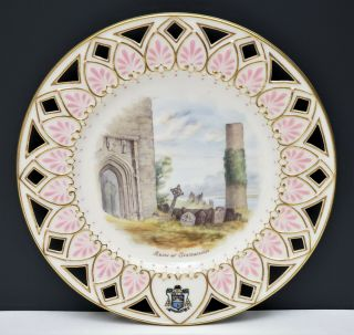 Antique Irish Belleek 2nd Black Mark Scenic Portrait Plate Ruins At Clonmacnoise