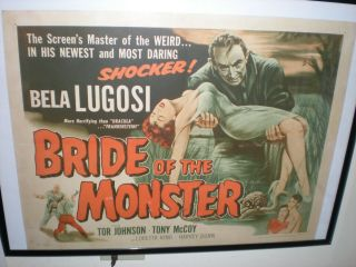 Bela Lugosi Bride Of The Monster Ed Wood Tor Johnson Horror Half Sheet