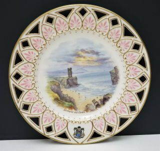 Antique Irish Belleek 2nd Black Mark Scenic Portrait Plate Kenbane Old Castle