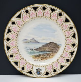 Antique Irish Belleek 2nd Black Mark Scenic Portrait Plate Giants Causeway