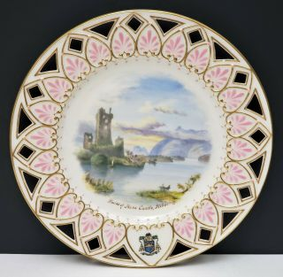 Antique Irish Belleek 2nd Black Mark Scenic Portrait Plate Ruins Of Ross Castle