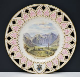 Antique Irish Belleek 2nd Black Mark Scenic Portrait Plate Valley Of Glendalough