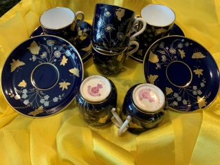 Traditional Japanese,  Minton Hand Painted Gold/blue,  Saucers 5cm,  Cups 2.  5cm