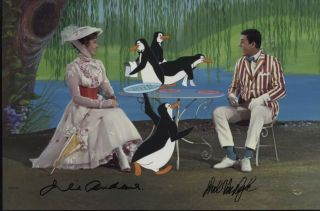 Rare Mary Poppins Signed And Framed Sericel Julie Andrews Dick Van Dyke Disney
