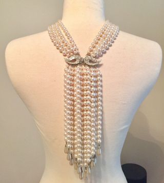 Prince Diamonds & Pearls Vintage Faux Pearl & Rhinestone Necklace