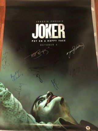 Joker Ds Movie Poster Cast Signed Premiere Joaquin Phoenix Todd Phillips Batman