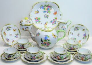 Herend Queen Victoria Tea Set And Dessert Set 6 Person Vbo Design.