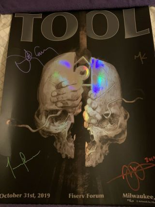 Tool 10/31/19 Milwaukee Signed Poster Rainbow Foil Ultra Rare Number 54/650