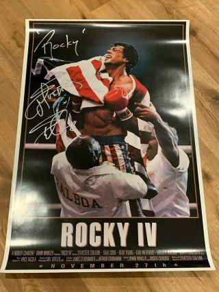 Sylvester Stallone Rocky Inscription Autographed Rocky Iv 24x36 Poster Asi Proof