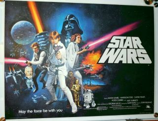 Star Wars Rare Pre - Awards British Quad 1977 On Linen Art By Tom Chantrell