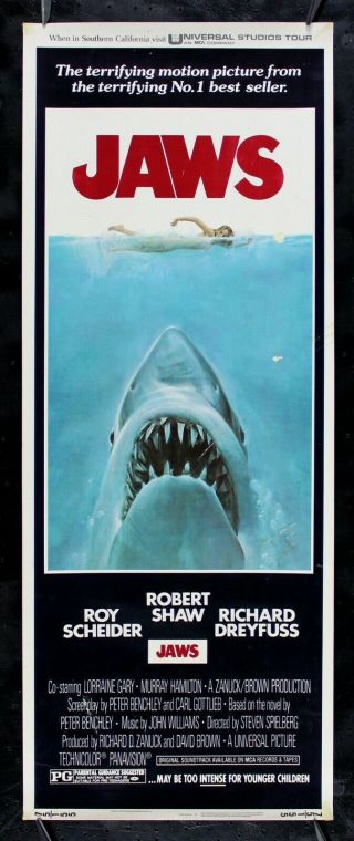 Jaws ✯ Cinemasterpieces Movie Poster Insert Not A Fake 1975