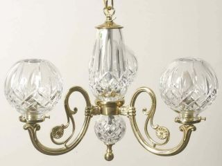 Waterford Crystal Lismore 3 Arm Polished Brass Chandelier Hanging Ceiling Light