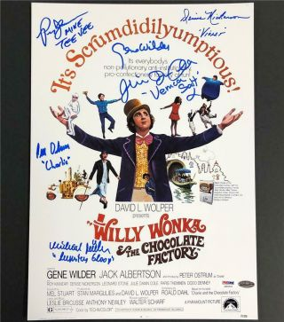Gene Wilder,  Willy Wonka Kids Autograph Cast Signed Movie Poster Photo Psa