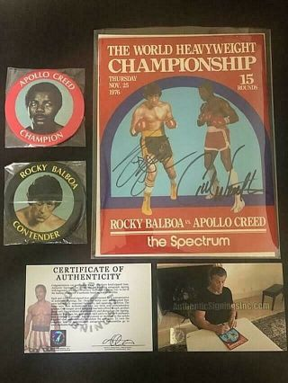 Carl Weathers & Sylvester Stallone Autographed Rocky Program Movie 1976
