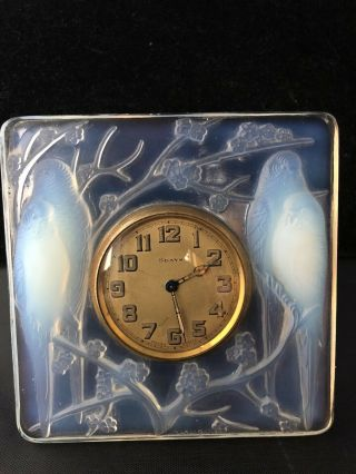 Rare Signed Rene Lalique France (1860 - 1945) Clock Inseparables Opalescent 1920s