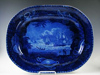 Antique American Historic Dark Blue Staffordshire Platter With Ships,  Shell Brd.