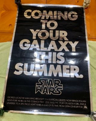 Star Wars Mylar Advance Poster 1977 Very Rare