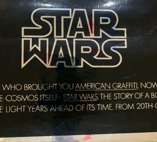 STAR WARS MYLAR ADVANCE POSTER 1977 VERY RARE 2