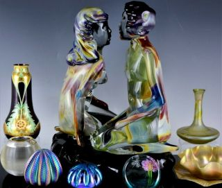 INCREDIBLE VERY LARGE DINO ROSIN CALCEDONIA MURANO YOUNG LOVERS GLASS SCULPTURE 11