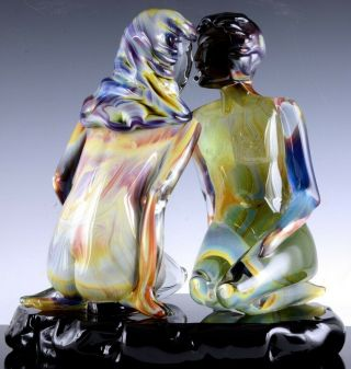 INCREDIBLE VERY LARGE DINO ROSIN CALCEDONIA MURANO YOUNG LOVERS GLASS SCULPTURE 3