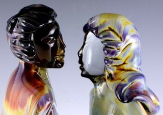 INCREDIBLE VERY LARGE DINO ROSIN CALCEDONIA MURANO YOUNG LOVERS GLASS SCULPTURE 5