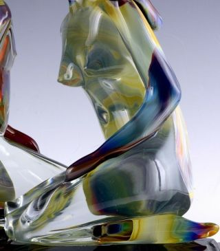 INCREDIBLE VERY LARGE DINO ROSIN CALCEDONIA MURANO YOUNG LOVERS GLASS SCULPTURE 6