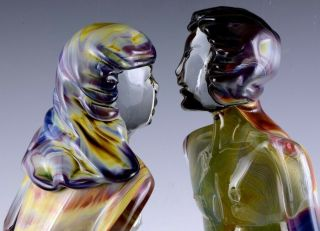 INCREDIBLE VERY LARGE DINO ROSIN CALCEDONIA MURANO YOUNG LOVERS GLASS SCULPTURE 7