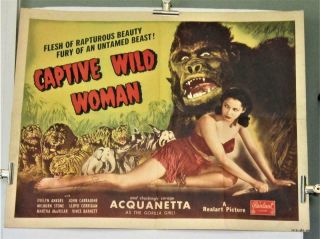 1948 Rerelease Captive Wild Woman Half - Sheet Acquanetta Signed By Milburn Stone