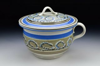Banded Mochaware Covered Chamber Pot With Looping Earthworm Decoration