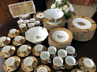 Huge 98 - Pc Lynn Chase Amazonian Jaguar China Dinnerware Set,  Svc.  12,  Servers