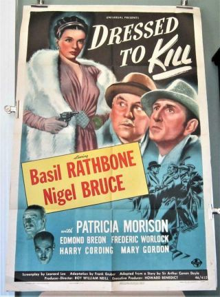 1946 Dressed To Kill 1 - Sheet Sherlock Holmes Basil Rathbone Nigel Bruce