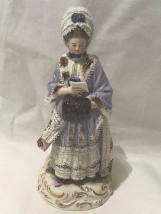 "Meissen 19th Century 8  Girl With Muff Reading "" Figurine D66 Mold 122"