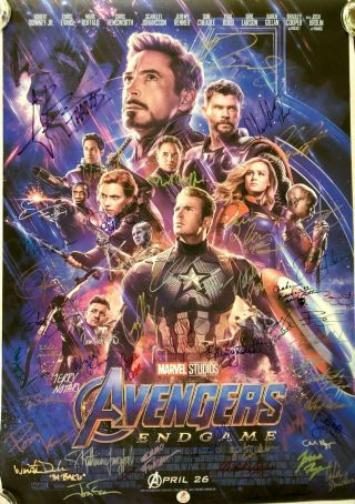 Avengers Endgame Vip Cast Signed Premiere Movie Poster Marvel