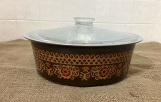 Extremely Rare Pyrex Big Bertha 664 4qt Brown Polynesian With Lid