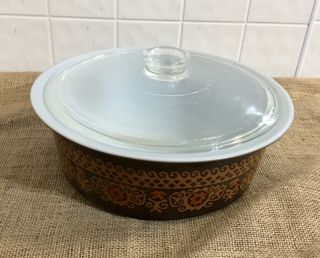 Extremely Rare Pyrex Big Bertha 664 4Qt Brown Polynesian With Lid 2