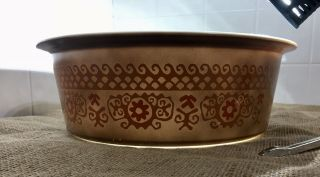 Extremely Rare Pyrex Big Bertha 664 4Qt Brown Polynesian With Lid 3