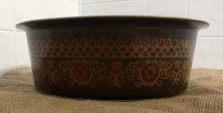 Extremely Rare Pyrex Big Bertha 664 4Qt Brown Polynesian With Lid 4