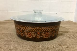 Extremely Rare Pyrex Big Bertha 664 4Qt Brown Polynesian With Lid 7