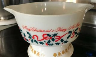 Vintage Rare Pyrex Bowl Merry Christmas Happy Year Holiday Nr