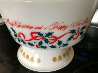 Vintage RARE PYREX BOWL MERRY CHRISTMAS HAPPY YEAR HOLIDAY NR 3