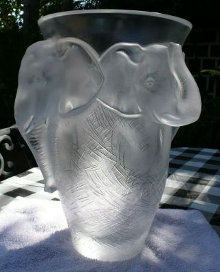 VERY rare and HUGE Lalique Vase,  Elephant Design, 10